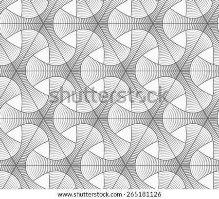 Seamless geometric pattern. Gray abstract geometrical design. Flat monochrome design.Monochrome gradually striped tetrapods and grid. - stock vector