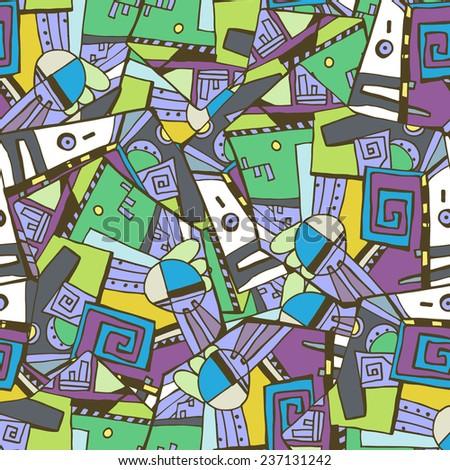 Seamless geometric pattern. Handmade in violet tones. Seamless vector geometric modern pattern, background, texture. - stock vector
