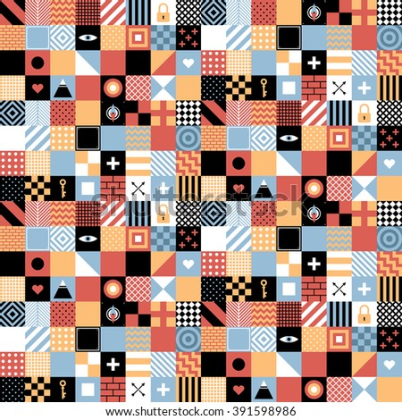 Seamless geometric pattern in flat style with squares and small icons. Useful for wrapping, wallpapers and textile. - stock vector
