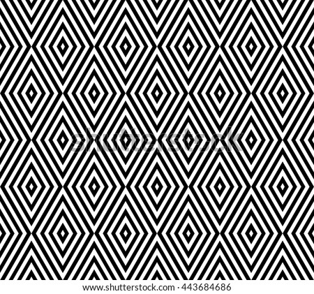 Seamless geometric pattern in rhombus design.black and white pattern background