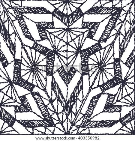 Seamless geometric pattern of crochet triangles. - stock vector