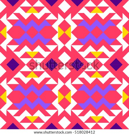 Seamless geometric pattern of triangles, white, blue, purple, orange, on a pink background, ethnic style