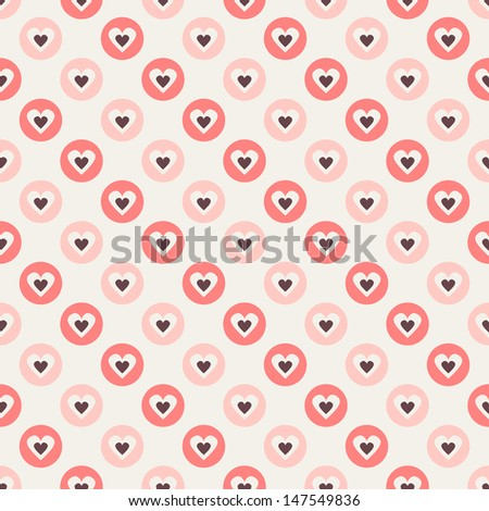 Seamless geometric pattern. Polka dot with hearts. Vector repeating texture - stock vector