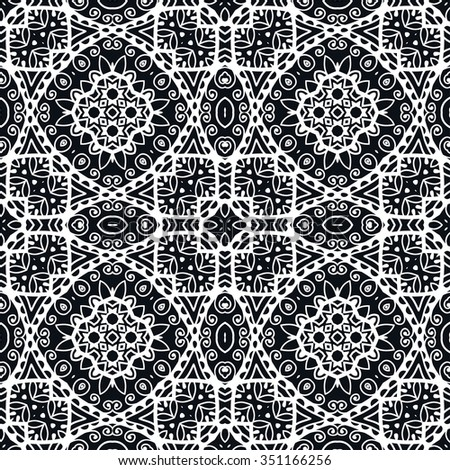 Seamless geometric pattern, repeating fabric lace texture, tribal ethnic arabic indian ornament. Hand drawn abstract background, vector illustration. Black and white background - stock vector
