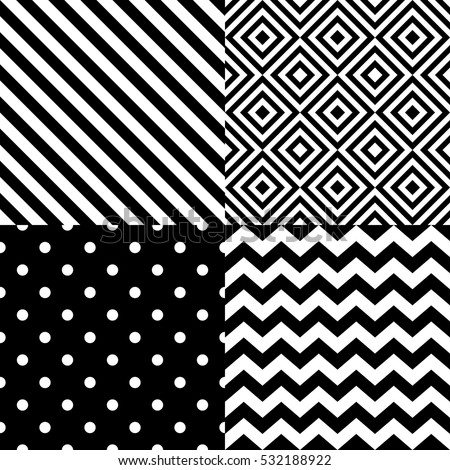 Seamless geometric pattern set in black and white