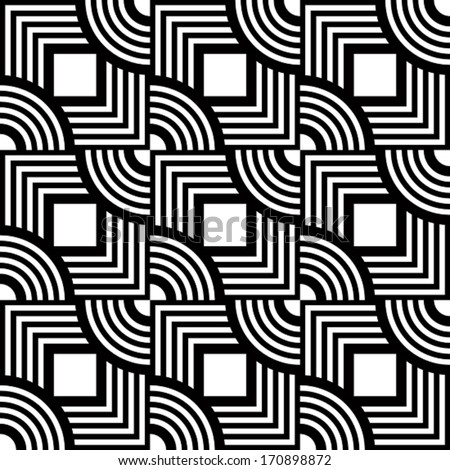 Seamless geometric pattern, simple vector black and white stripes background, accurate, editable and useful background for design or wallpaper. - stock vector