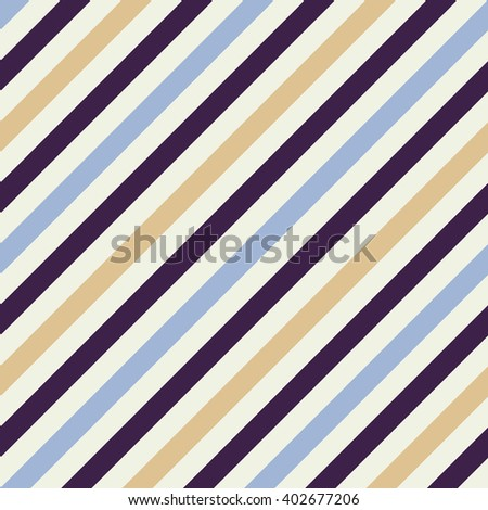 Seamless geometric pattern. Stripy texture for neck tie. Diagonal contrast strip background. Blue, beige, dark purple cream colors. Vector - stock vector