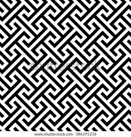 Seamless geometric pattern, traditional chinese background, monochrome asian texture - stock vector
