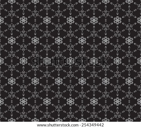 Seamless geometric pattern with monochrome small flowers and leaves.  - stock vector
