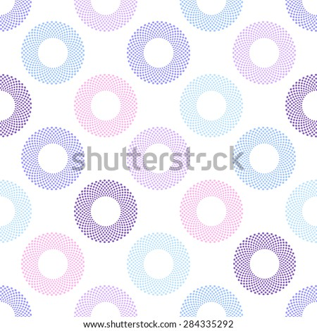 Seamless geometric pattern with multicolored circles on white background.Vector - stock vector