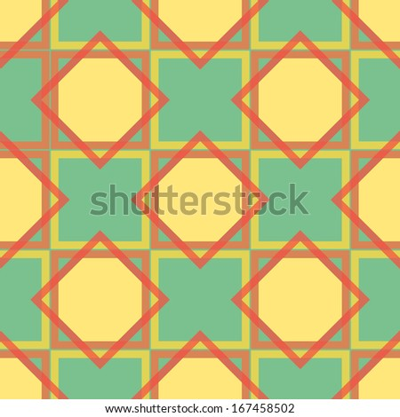Seamless geometric pattern with squares and rhombuses