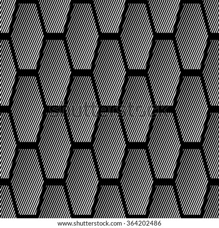 Seamless geometric pattern with striped hexagonal elements. Vector art. - stock vector