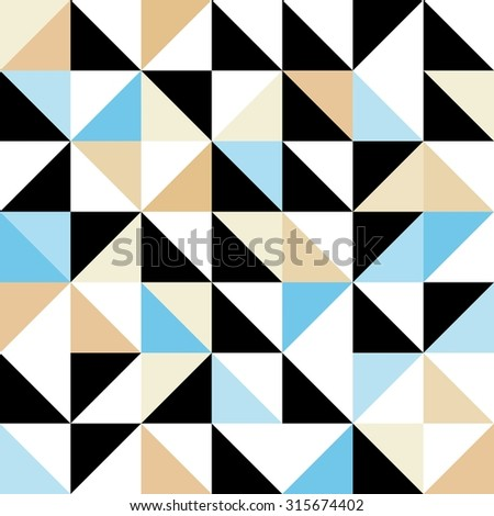 Seamless geometric pattern with triangular elements in blue, black, white and brown - stock vector