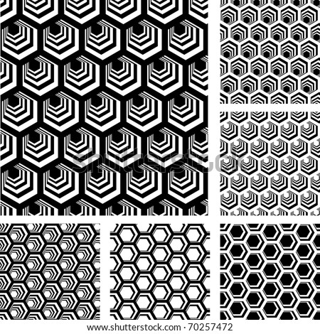 Seamless geometric patterns. Designs set with hexagonal elements. Vector illustration.