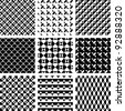 Seamless geometric patterns in op art design. Vector set. - stock photo