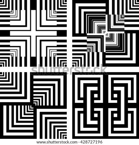 Seamless geometric patterns set. Vector art. - stock vector