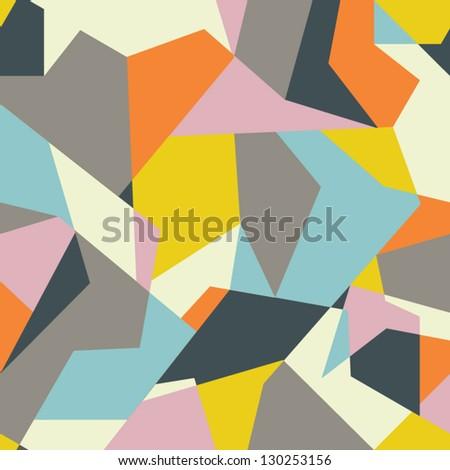 Seamless geometric retro  pattern, mosaic endless texture - stock vector