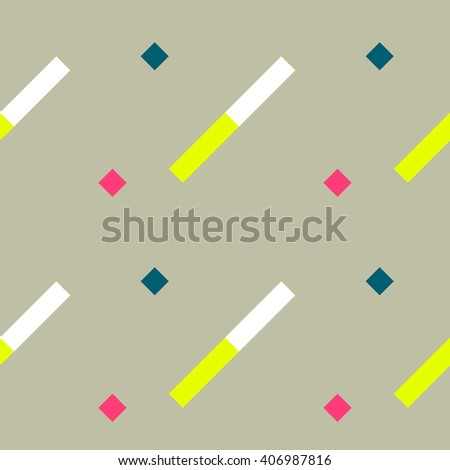 Seamless geometric stripy pattern. Texture of diagonal strips. White, yellow, pink, blue rectangles and squares on beige background. Baby, children colored. Vector - stock vector
