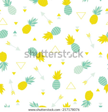 Seamless geometric summer pineapple cute tropical fruit theme illustration arrow background pattern in vector - stock vector