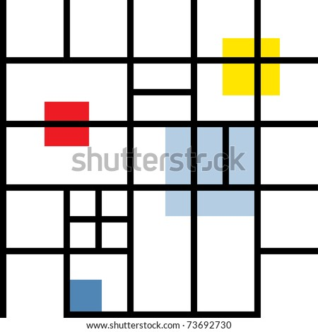 Seamless geometric suprematism pattern in style neo-plasticism abstract art - stock vector