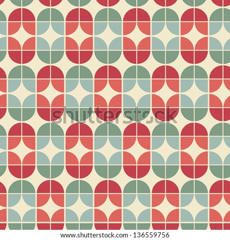 Seamless geometric tiles pattern in vintage style, vector abstract background. - stock vector