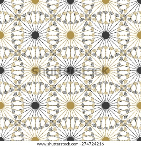 Seamless geometric vintage black and gold circle pattern. Vector graphic texture - stock vector