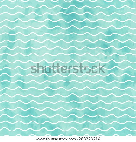 Seamless geometric watercolor wave pattern on paper texture - stock vector