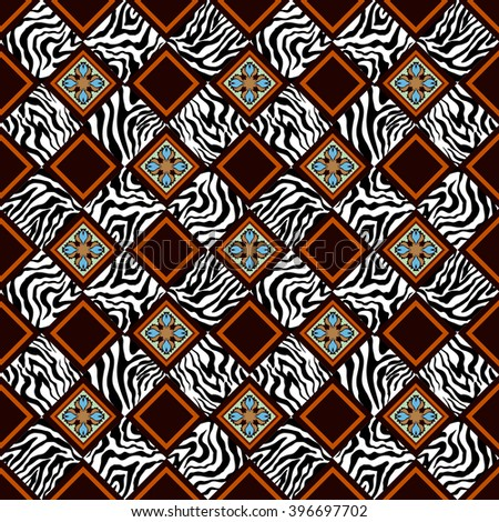 Seamless geometrical carpet pattern. Various zebra prints and tile geometric and floral ornaments. - stock vector