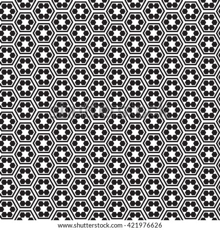 Seamless geometrical pattern. Black and white. Vector illustration for your graphic design. - stock vector