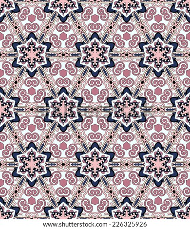 seamless geometry vintage pattern, ethnic style ornamental background, ornate floral decor for fabric design, endless texture, vector illustration - stock vector