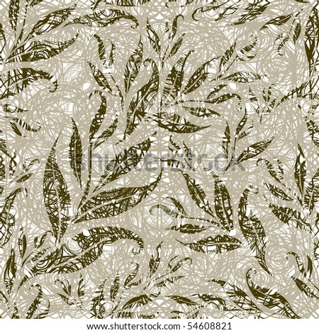 "Seamless ggrunge floral pattern with leafs (From my big ""Seamless collection"")"
