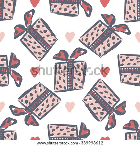 Seamless gift pattern, vintage gift boxes with heart. Freehand vector print  - stock vector