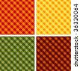 Seamless Gingham, Harvest colors, Cross weave check background pattern designs: Pumpkin, Gold, Russet, Green. EPS8 file includes 4 pattern swatches that will seamlessly fill any shape. - stock photo