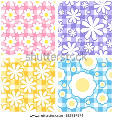 Seamless gingham tablecloth background set with flowers - stock vector