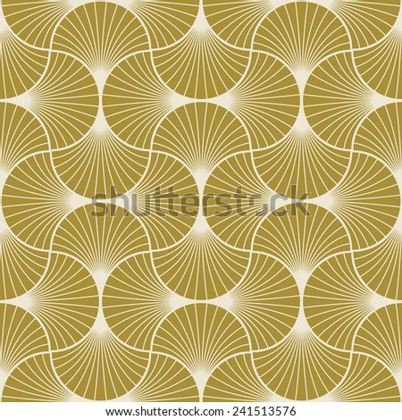 seamless gold colored art deco pattern of overlapping arcs. - stock vector