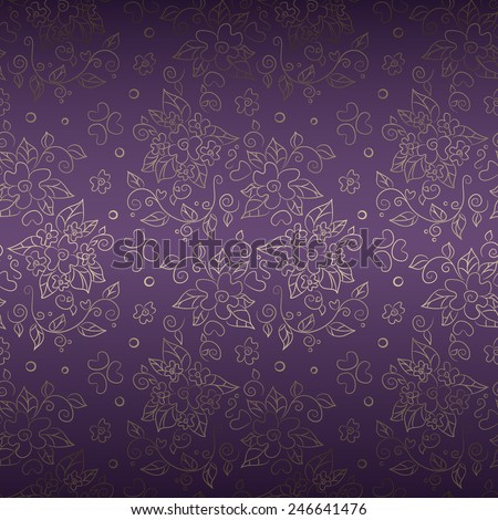 Seamless gold floral pattern on dark violet background. Vector elegant abstract background , luxury design - stock vector