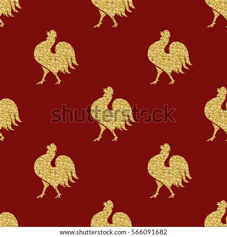 seamless gold glitter chicken pattern on red background