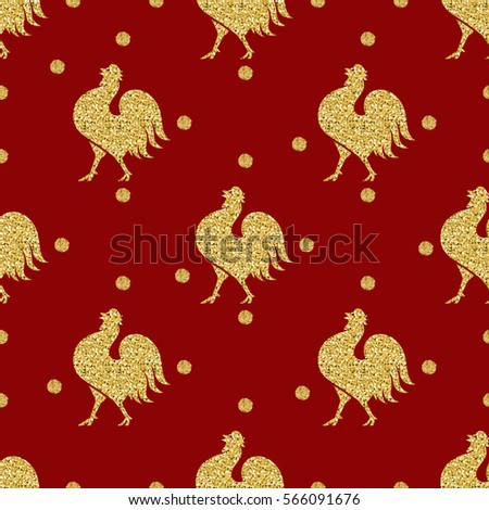 seamless gold glitter chicken with gold dot glitter pattern on red background