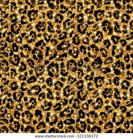 Seamless gold leopard pattern. Vector illustration. Shining fashion wild background. Chic animal print, leopard texture. Shining festive backdrop. Creative wild animal tiling. - stock vector