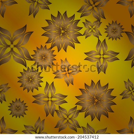 Seamless Golden And Yellow Gradient Floral Wallpaper