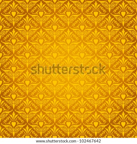 Seamless Gothic Damask wallpaper background - stock vector