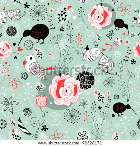 seamless graphic floral pattern with birds in love - stock vector