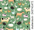 Seamless graphic pattern of farm animals on a green background - stock vector