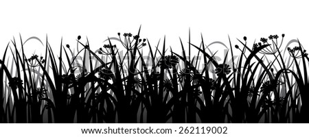 Seamless grass, herbs and flowers silhouette, vector illustration - stock vector