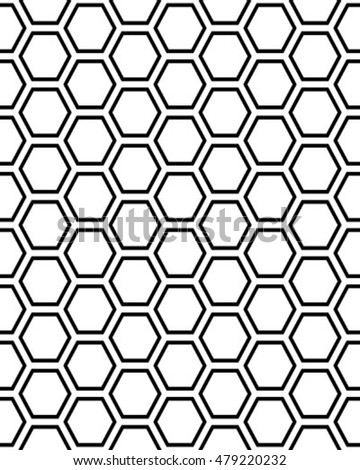 Seamless gray pattern with hexagons, vector