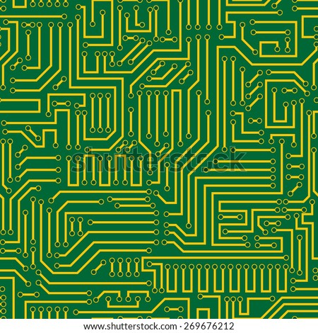 Seamless green and yellow electronic plate pattern vector. Circuit board vector illustration. Futuristic background. Electrical scheme. Technology seamless background with pattern in swatches - stock vector