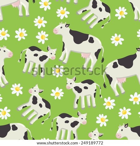 Seamless green background with a pattern of drawn cheerful white-black spotted cow, calf. Field of daisies - stock vector