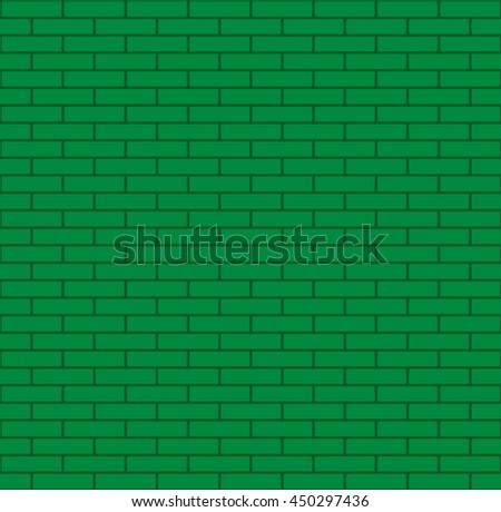 Seamless green bricks vector illustration. - stock vector