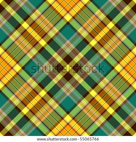 Seamless green-brown-yellow checkered diagonal pattern (vector, EPS 10) - stock vector