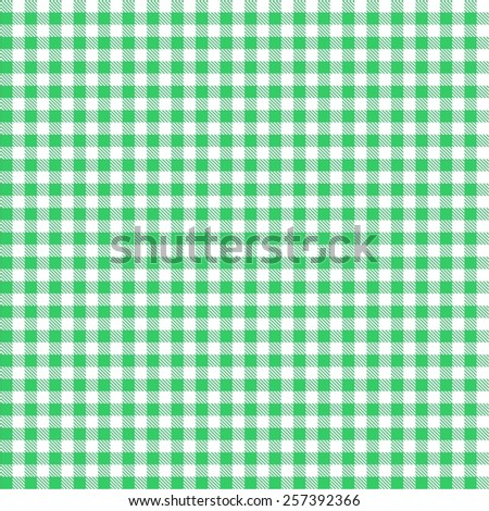Seamless green checkered tablecloth pattern  - stock vector